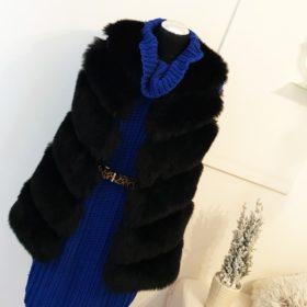 """Short Faux Fur Vest """"ROSA"""" - Black"""