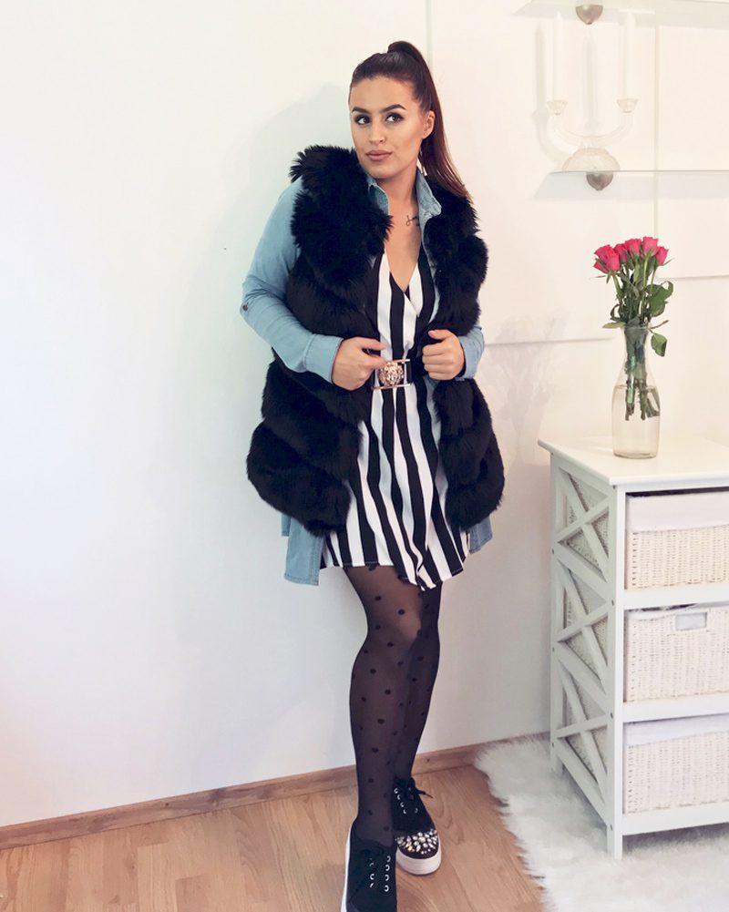 woman fur vest - black