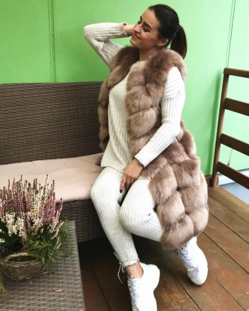 faux fur vest - brown