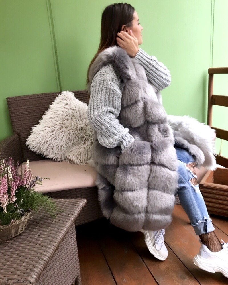 faux fur vest gray