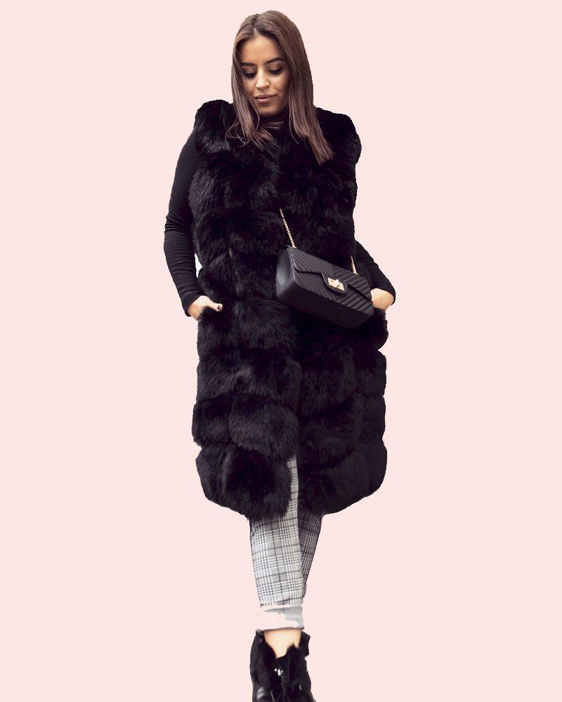 woman faux fur vest