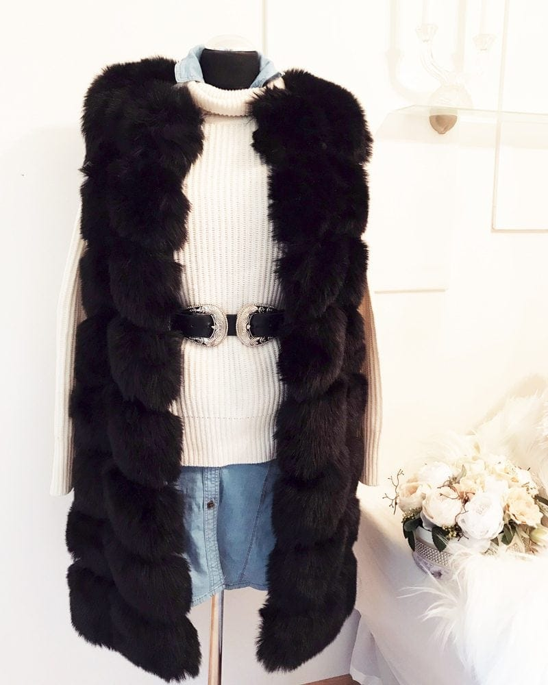 woman faux fur vest in black color