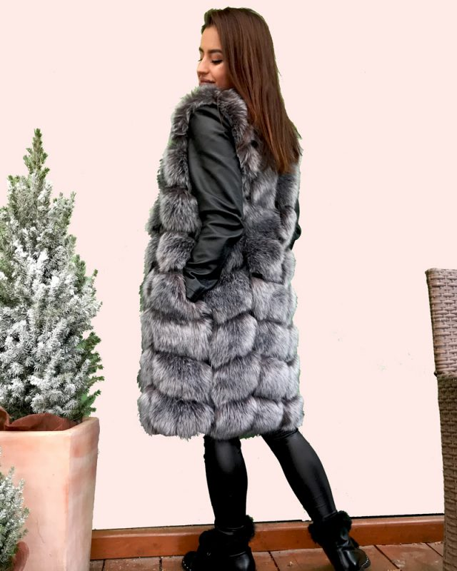 woman faux fur vest in grey color