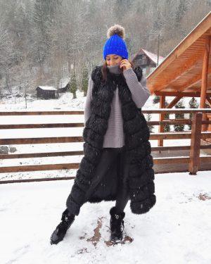 long fur vest in black color
