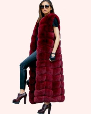 long fur vest - red