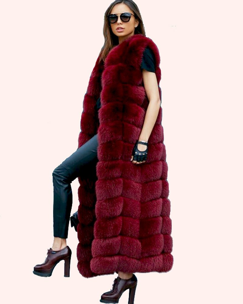 long fur vest in red color