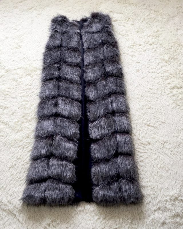 long fur vest for woman in grey color