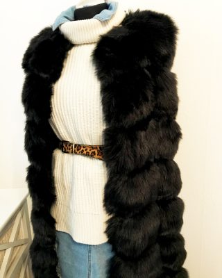 long fur vest - black
