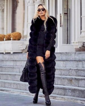 long fur vest in black color