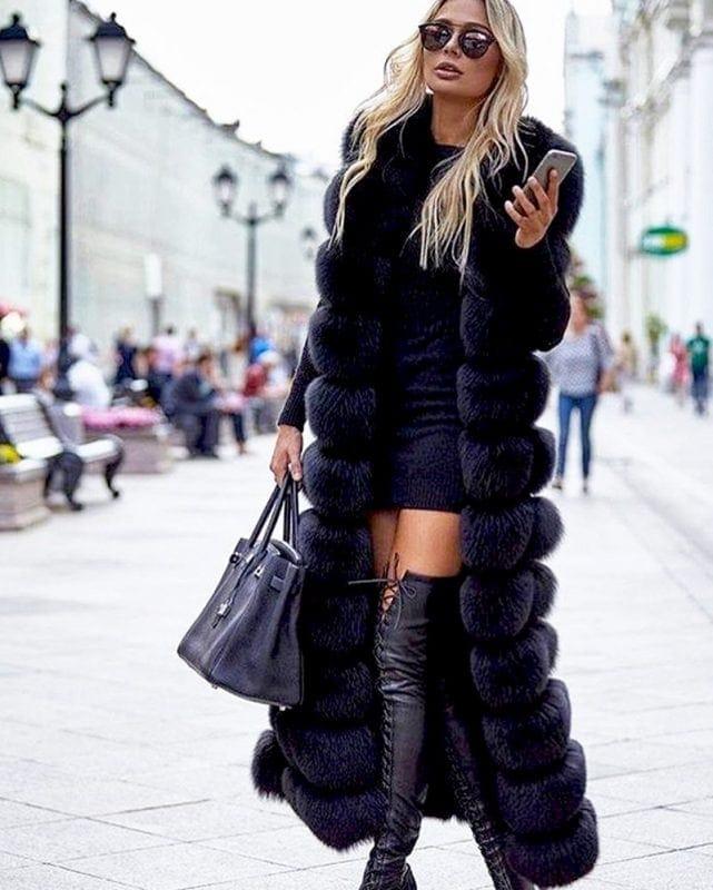 long fur vest in white black