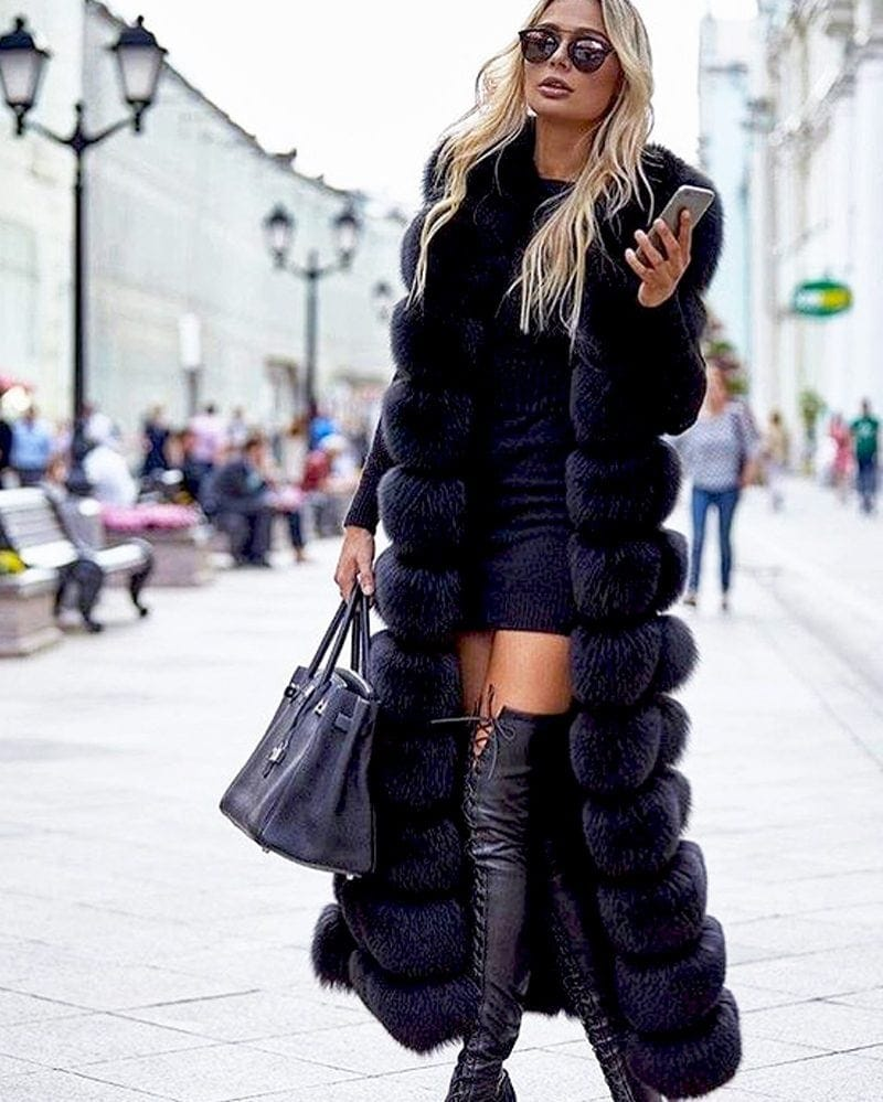 long fur vest in white black