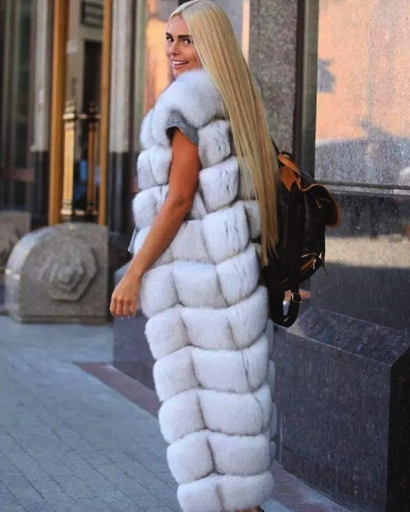 long fur vest in white color