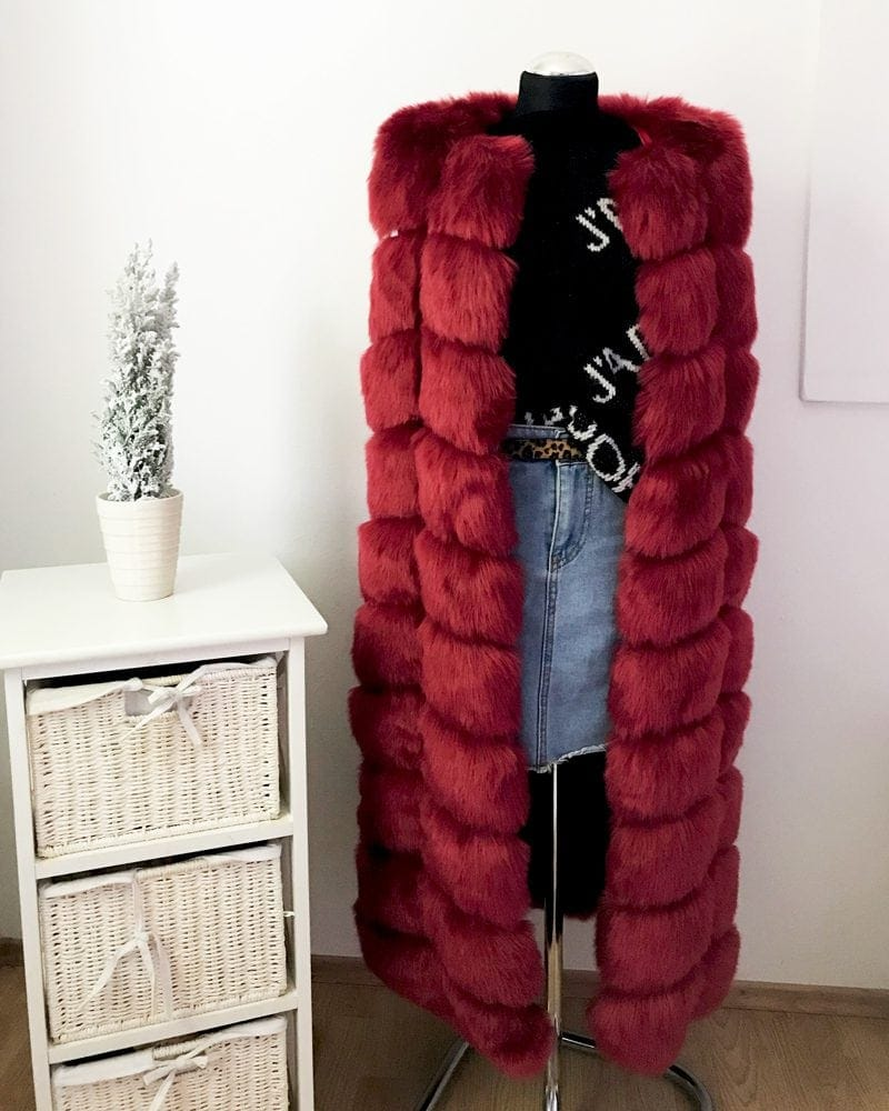 long fur vest in red