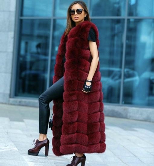 faux fur vest in red color