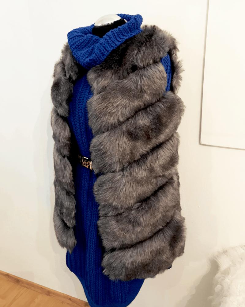 short woman faux fur vest in dark grey color