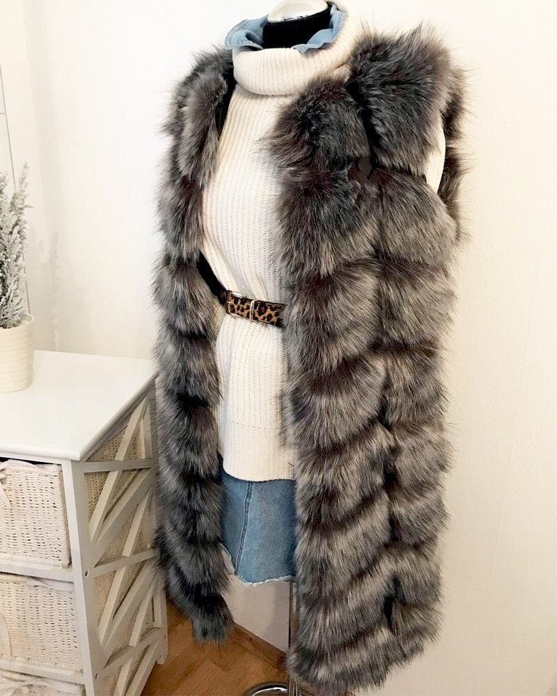 medium fur vest in grey color