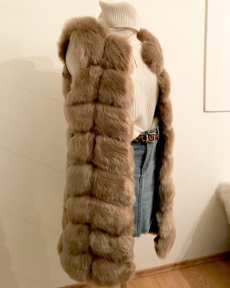 medium fur vest in grey color