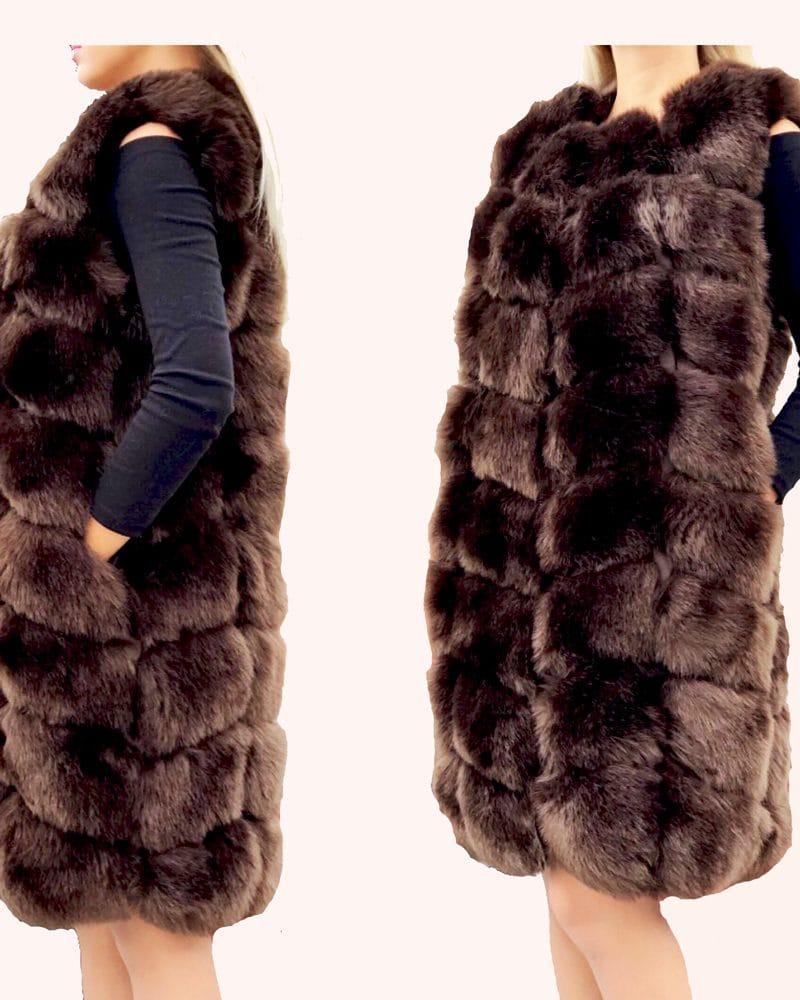 long fur vest in brown color