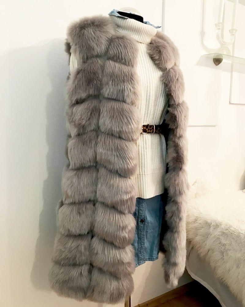 long fur vest in grey color