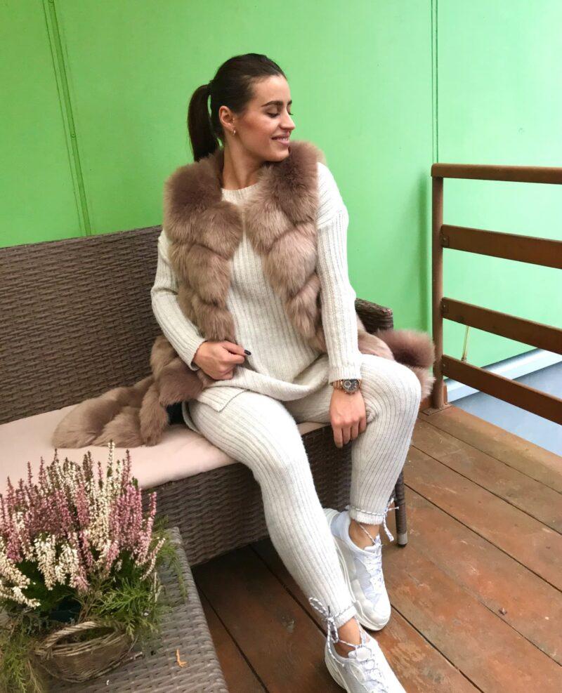 faux fur vest beige