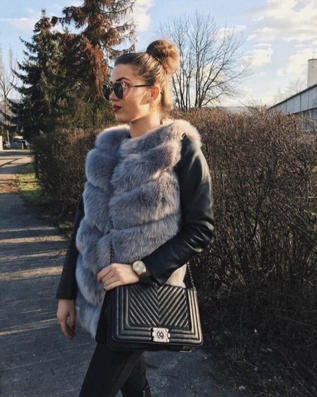 short fur vest - gray