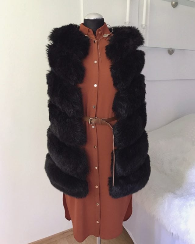 short fur vest - black