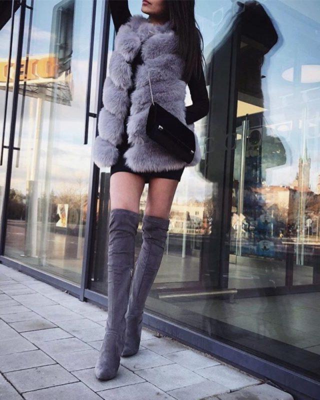 faux fur vest - gray